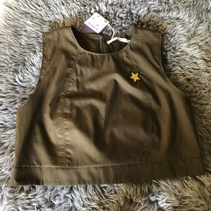 NWT Zara Trafaluc Army Green Crop Top Back Zip L